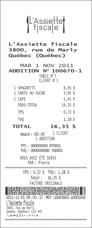 Example of a bill produced by an SRM